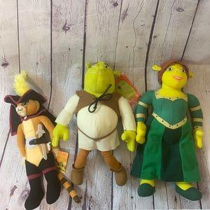 Shrek 2 Dreamworks plush lot shrek, fiona and puss